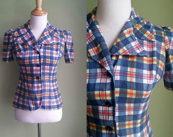1960s Picnic Plaid Blouse - Cotton Button Front - Form Fitting - Small
