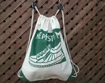 Vintage 90s Mephisto Shoes Cotton Drawstring Backpack Bag