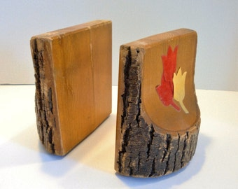 Vintage Rustic Bookends - Natural Wood Bookends - Cabin Bookends - Wood Bark Bookends