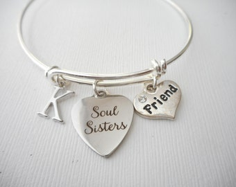Soul Sisters, Friend- Initial Bangle/ soul sister bracelets, soul sister charm bracelet, soul sisters bracelet, soul sisters bracelets