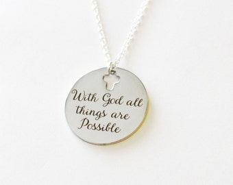 With God all things are possible necklace, sterling silver and stainless steel, inspirational necklace gift, encouragement gift, religious