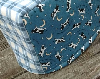 Cow Toaster Cover Quilted Blue Cow Jumped Over the Moon Vintage