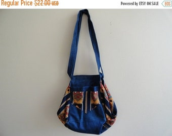 SALE Tribal Print Denim Purse Bag Vintage
