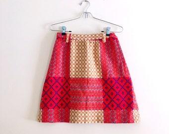 Vintage 70s Patchwork Mini Skirt / Red & Mustard Skirt