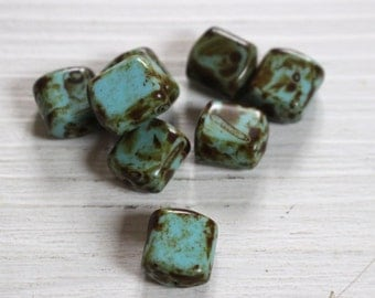 Vintage scottish agate tile beads