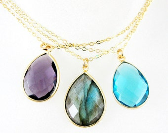 Bezel Gemstone Pendant Necklace -Gemstone Necklace with Gold Plated Chain - Teardrop Gemstone Pendant Necklace - All Stones - SKU:611101