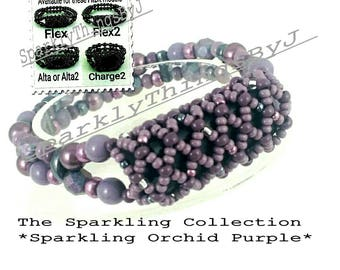 Bracelet For FitBit FLEX, FLEX2, ALTA, AltaHr or Charge2! *Sparkling Orchid Purple* Replacement Band, Stretch, Tech, Free Resizing!*
