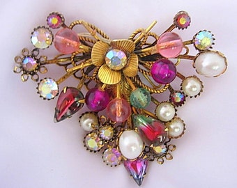 Large Vintage Cluster Brooch Givre or Paste Glass White Faux Pearls Dimensional Multi-Layered AB Rhinestones Pink Green Purple Gold Tone