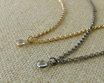 Swarovski Crystal Necklace, Crystal Necklace, Gold Necklace, Silver Necklace, You Choose, Minimalist Jewelry, Layering Necklace, Gift