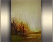 Oil Painting, ORIGINAL art, Abstract painting, Olive Green, Abstract Art, Abstract Landscape painting, Morning Glow, Artwork by Tatjana