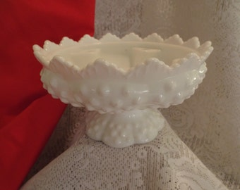 Fenton Milk Glass Hobnail Centerpiece Bowl for Candles and Flowers Multifunction Round Bowl
