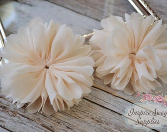 Cream Ballerina chiffon Flowers- Set of 2 DIY fabric flowers, wholesale flowers, chiffon flowers, supply flowers,headband supply