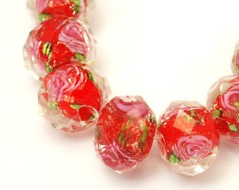 10pc 8x6mm handmade faceted flat round lampwork glass beads-off179