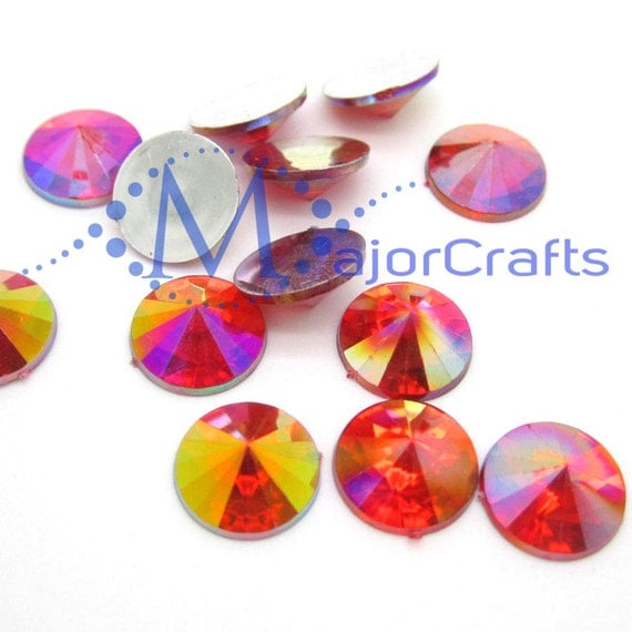 Orange AB Round Flat Back Pointed Rivoli  Resin Rhinestones Embellishment Gems C9