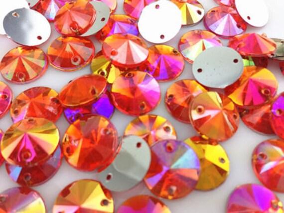 Hyacinth Orange AB Round Flat Back Pointed Sew On Rivoli Resin Rhinestones Embellishment Gems C15