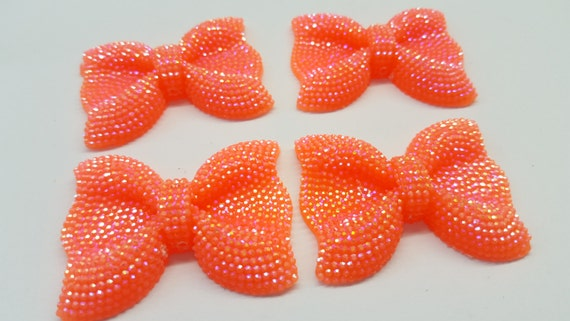Bright Orange AB Large Flat Back Chunky Resin Rhinestone Embellishment Bows C18