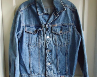 Vintage 80s GUESS USA Denim Jean Jacket Distressed sz S/M