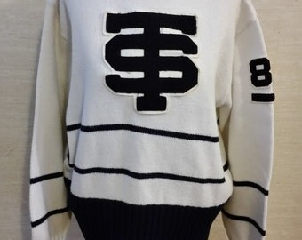 Women's Vintage Multi-Colored Varsity High School Cheerleader Sweater Sz-M