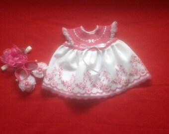 Handmade Crochet Newborn Baby Girl Dress Set - Mauve & White