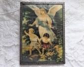 Vintage Art Print Guardian Angel Children Framed