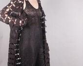 60s Black Crochet Duster Jacket Dress Cover Up