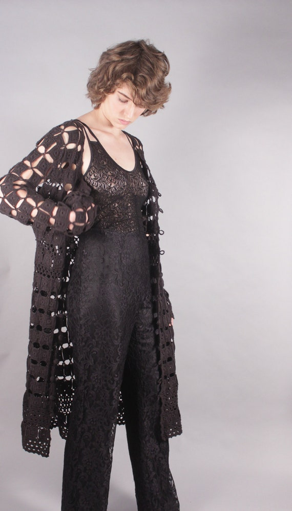 60s Black Crochet Duster Jacket Dress Cover Up