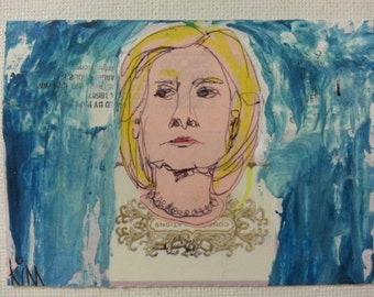 sale aceo PRESIDENTIAL CANDIDATE 2 original collage kimartist blonde woman modern politics political pop blue yellow pink white sfa ows ooak