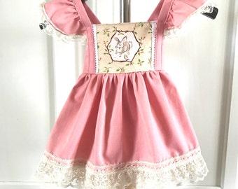 Easter dress - pink easter dress - girls easter dress - lace easter dress - easter bunny dress - pink and lace dress - vintage dress