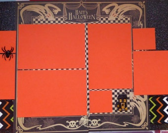 "Double page 12 x 12 scrapbook layout kit - ""Happy Halloween"""