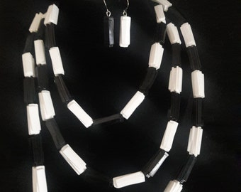 Basic Black and White Necklace, Bracelet and Earrings Set