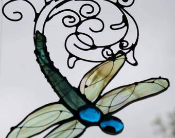 Made to Order for You Dragonfly Stained Glass Sun Catchers With Hand-twisted Scrolling Contrail
