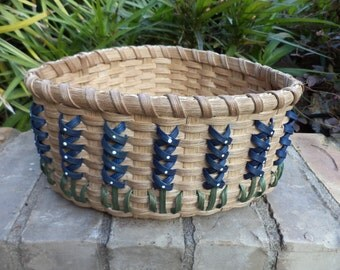 Texas Bluebonnet Large Corner Basket Texas Basket Bluebonnet Basket Handwoven Basket