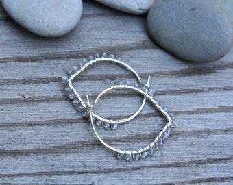 Labradorite Hoops, Petal Hoops, Sterling Silver Hoops,  Wire Wrapped Hoops, Stone Petals, Lightweight Jewelry, One Inch Hoop, Stone Hoops