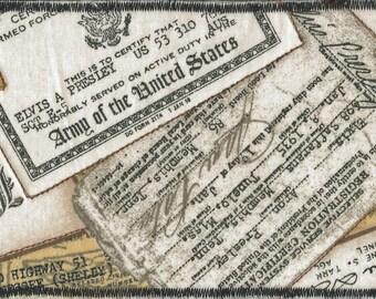 ELVIS PRESLEY Vintage Army Memorabilia, FABRIC Postcard, Handmade Postcard, Fiber Arts, King of Rock N Roll