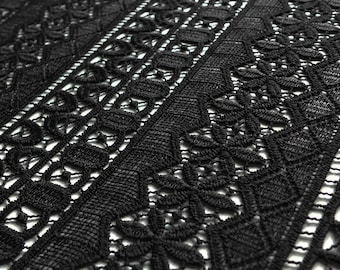 Black Guipure Banded Lace Fabric with Geometric Stripe Pattern - 130cm wide - sold by the metre - UK SELLER