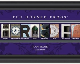 PERSONALIZED & FRAMED NCAA Tcu Horned Frogs Letter Art Sports Prints