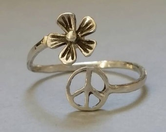 peace sign ring Silver ring sterling silver rings adjustable rings hippie jewelry ring  boho ring silver flower ring peace sign ring