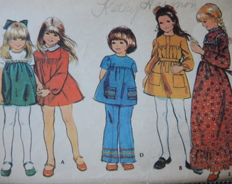 vintage 1970s McCalls sewing pattern 2997 girls dress and pants size 10