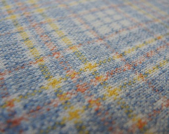 Vintage double knit polyester fabric blue and yellow plaid 1 yard 26 inches 66 inches wide