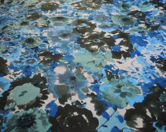 Vintage polyester fabric no stretch abstract floral flowers 58 inches wide