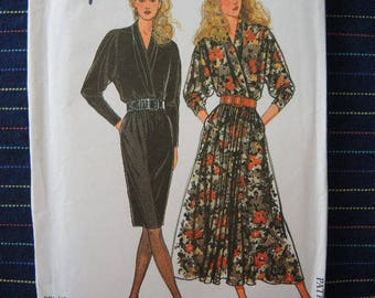 vintage 1990s Simplicity sewing pattern 9841 UNCUT misses dress in two lengths sizes 10-20