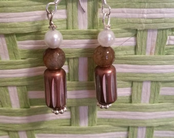 Neutral Brown and White Pearl Dangle Beaded Earrings