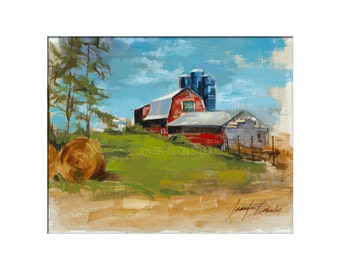 Landscape Art - Matted Print of Original Oil Painting - Farm, Barn, Landscapes, Scenic, Red, For Home, Wall Decoration, Barns, Countr