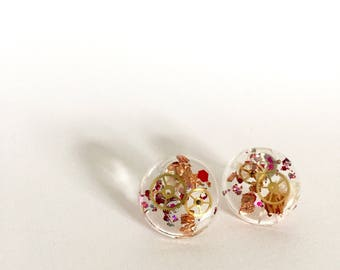 Pink Steampunk studs/Gifts for Her/Christmas Gifts