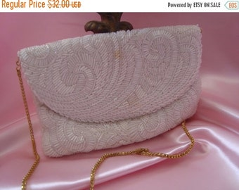 ON SALE Beaded White Purse Cocktail Party Clutch