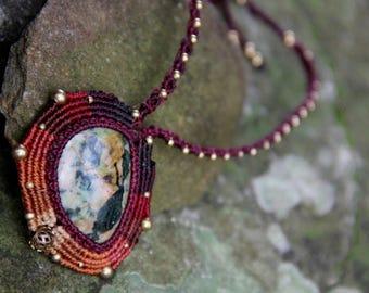 Gypsy goddess macrame tuquoise necklace