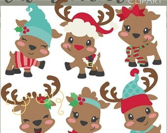 Items similar to Christmas Santa Reindeer Clipart Scrapbook Santa ...
