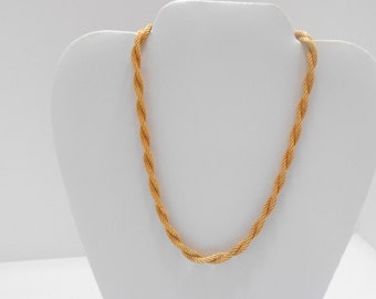 """Vintage Sarah Coventry 17"""" Gold Tone Twisted Rope Necklace (3659)"""