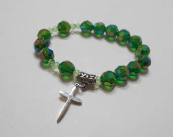 Gorgeous Green Aurora Borealis Crystal Stretch Bracelet (4540) Silver Cross