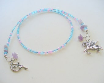 Blue and Purple Beaded Bookmark, Book Thong, Flying Horse Bookmark, Moon and Fairy Bookmark, Book Lover, Book Jewelry, Amethyst Gemstone